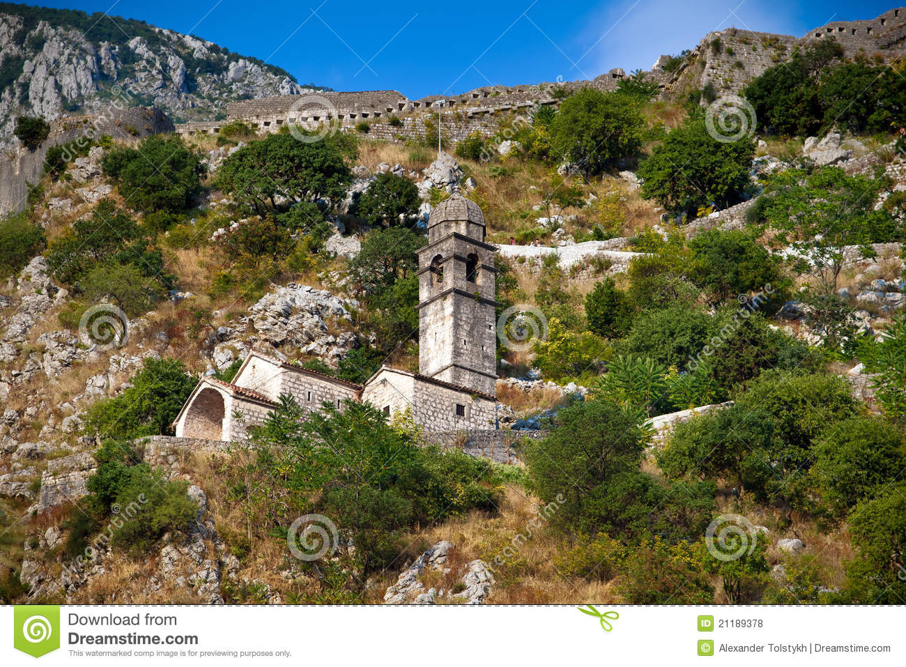 Stone bell tower of Chapel in Kotor