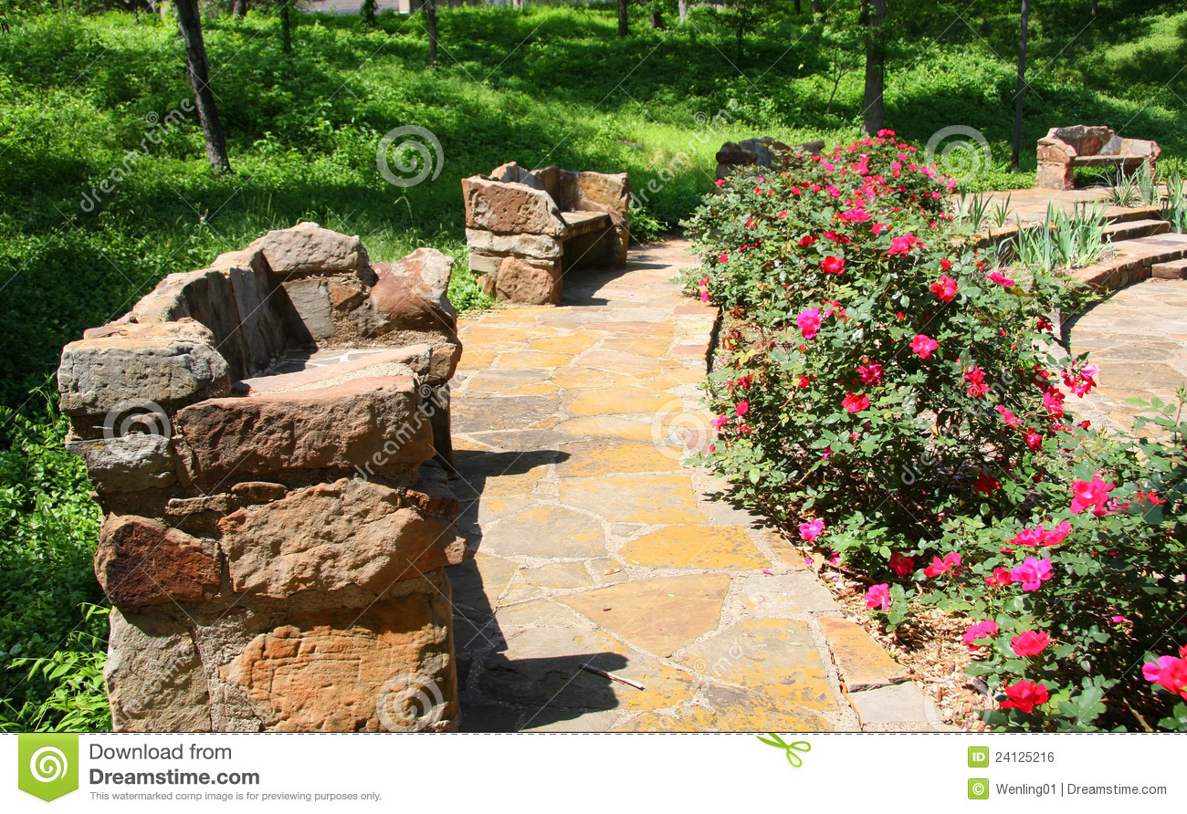 stone benches in the garden stock photo image 24125216