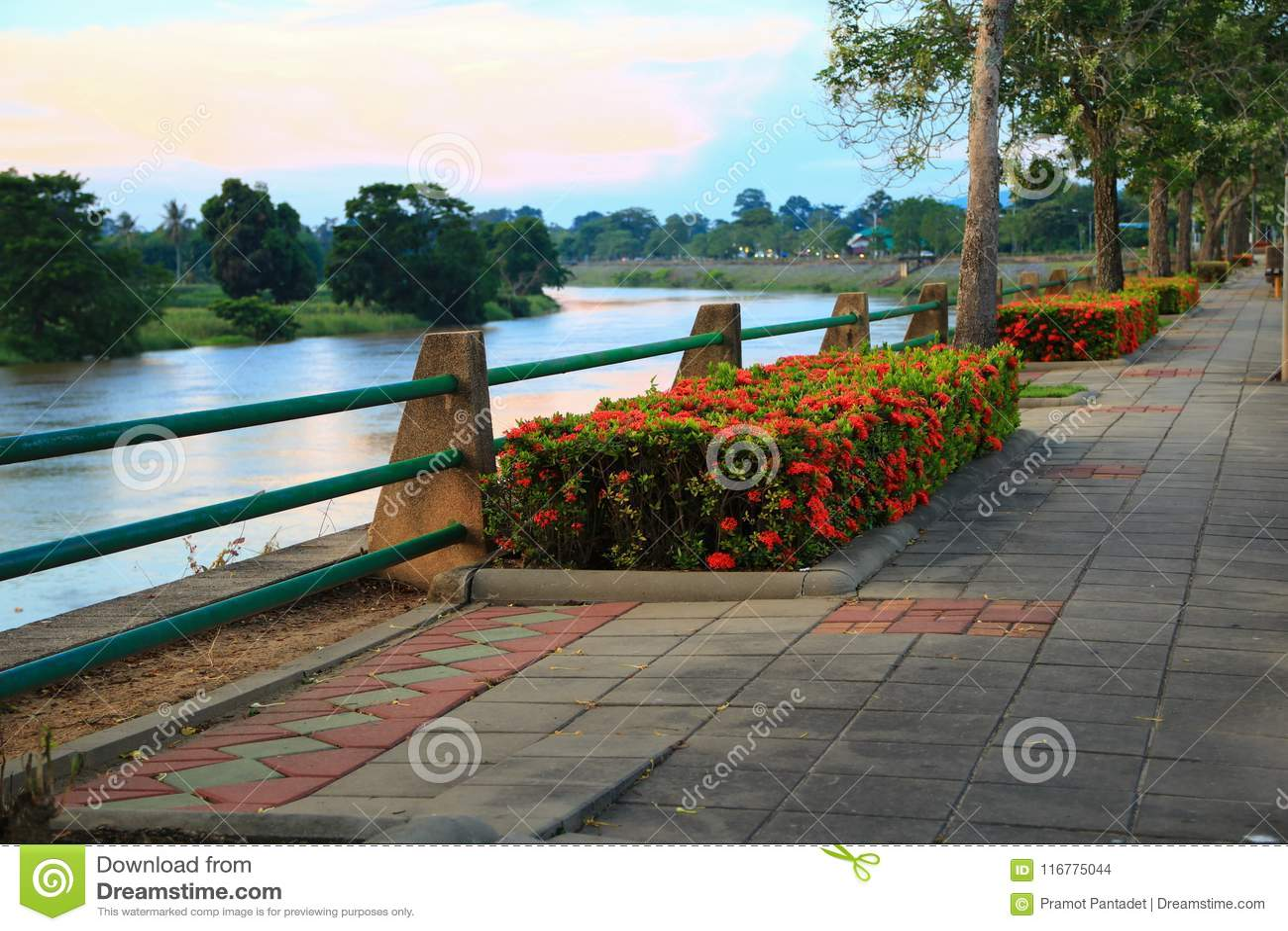Stone block walk path riverside in the public park