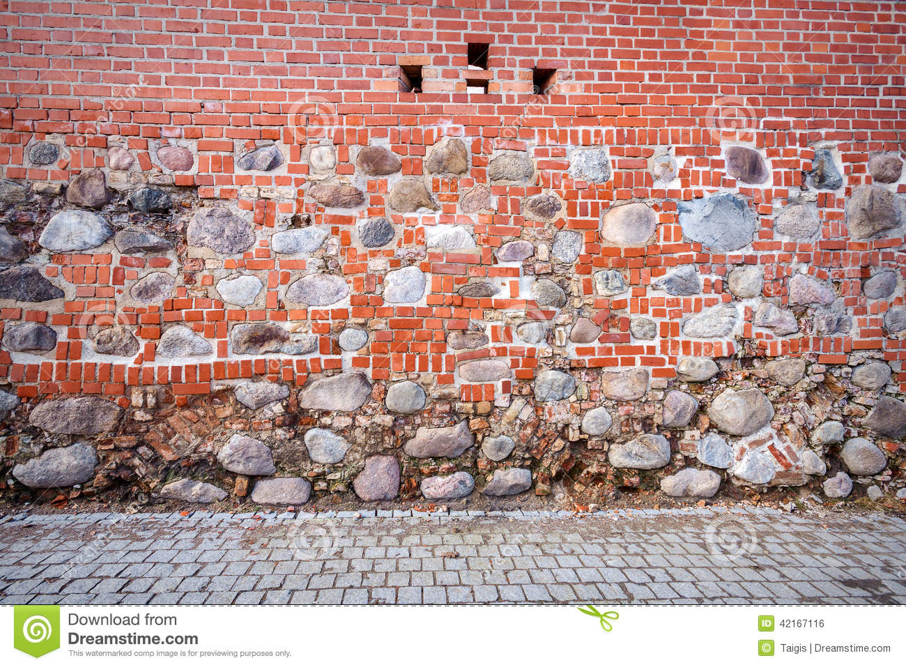 Stone and brick wall stock photo image of backdrop for Mixing brick and stone
