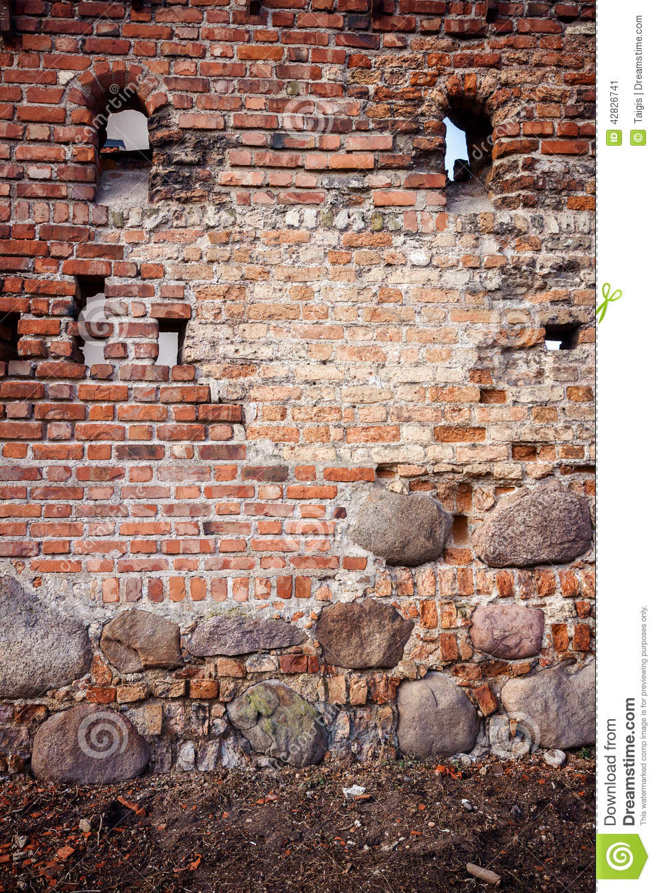 Stone and brick wall stock photo image 42826741 for Mixing brick and stone