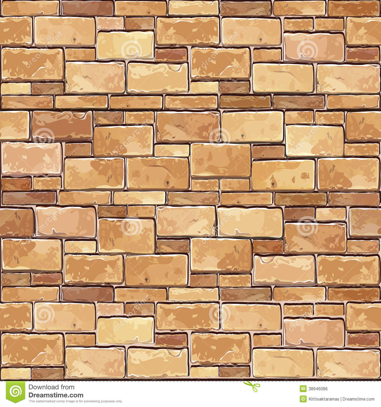 Stone Brick Wall Seamless Background Stock Vector Image 38946086