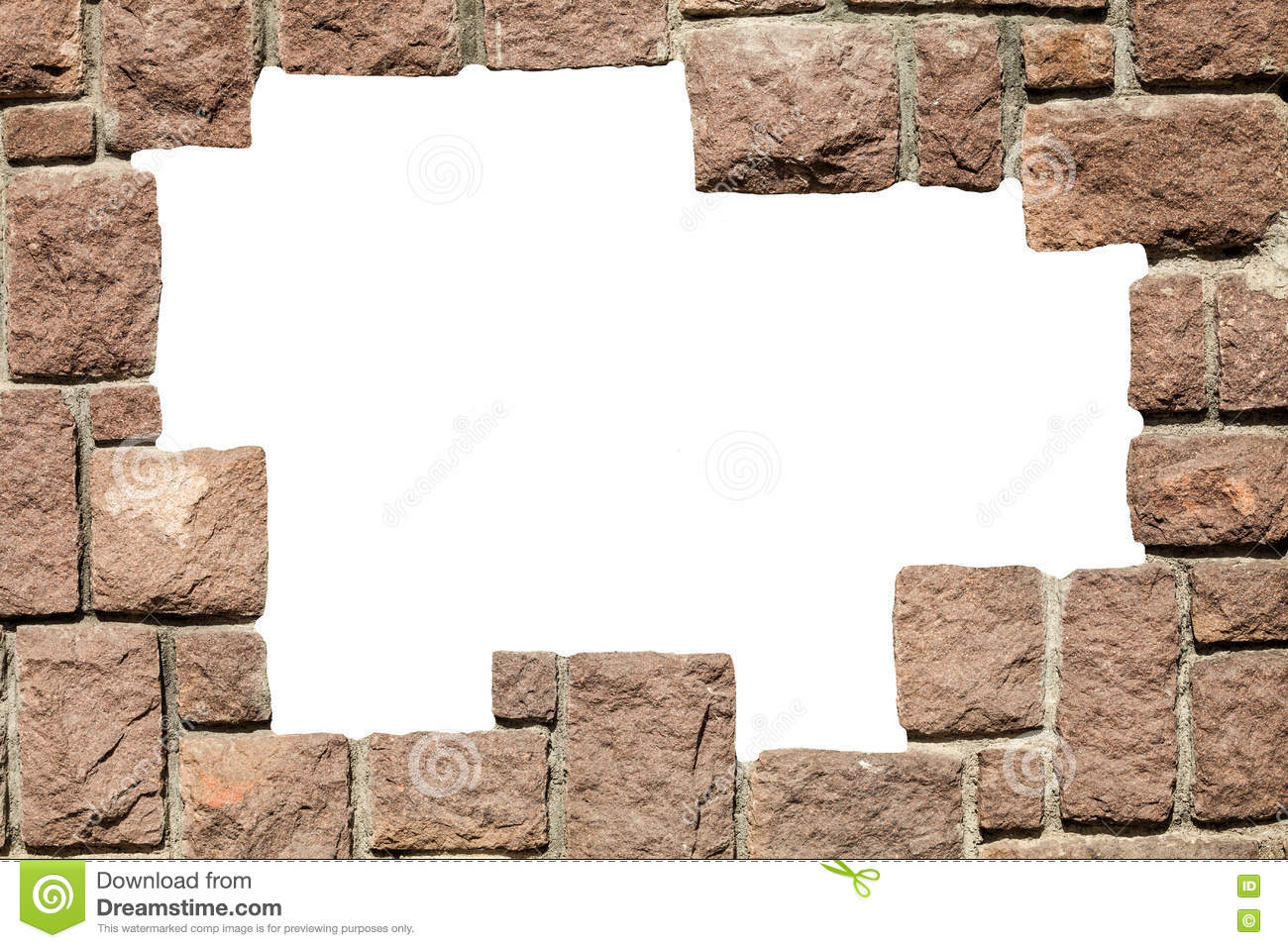 Stone bricks wall frame with empty hole. PNG available