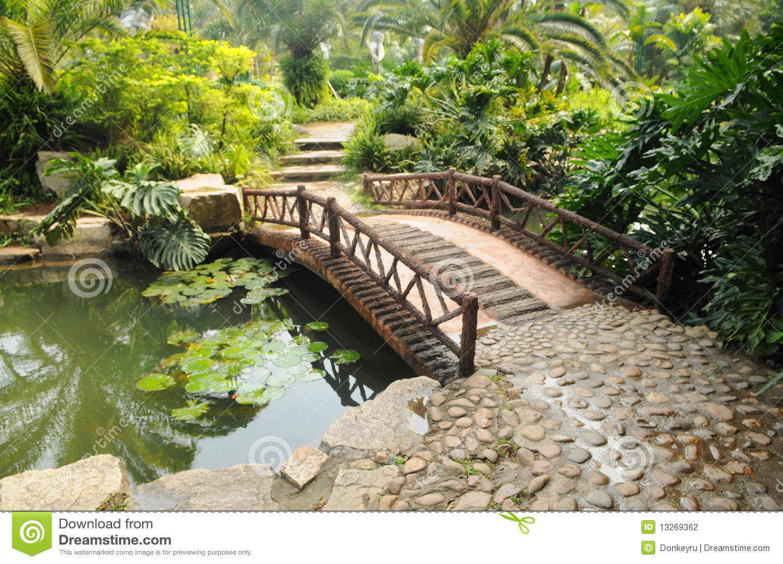 Stone Bridge In Garden Stock Photography Image 13269362