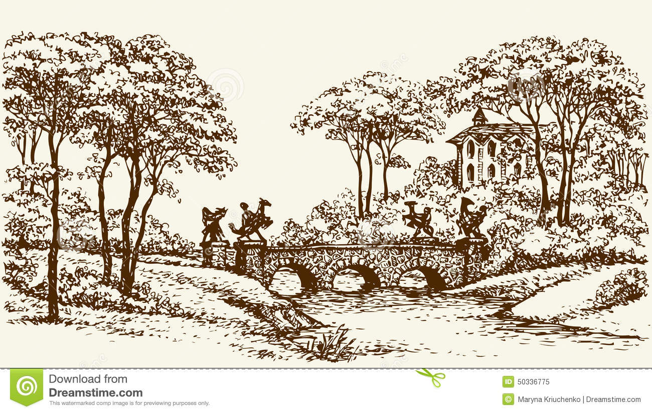 Stone Bridge In Old Park Vector Drawing Stock Vector