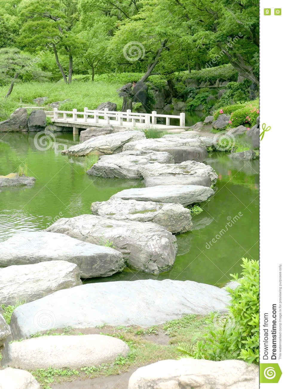Download Stone Bridge And Water Pond In Japanese Zen Garden Stock Photo    Image Of Reflection