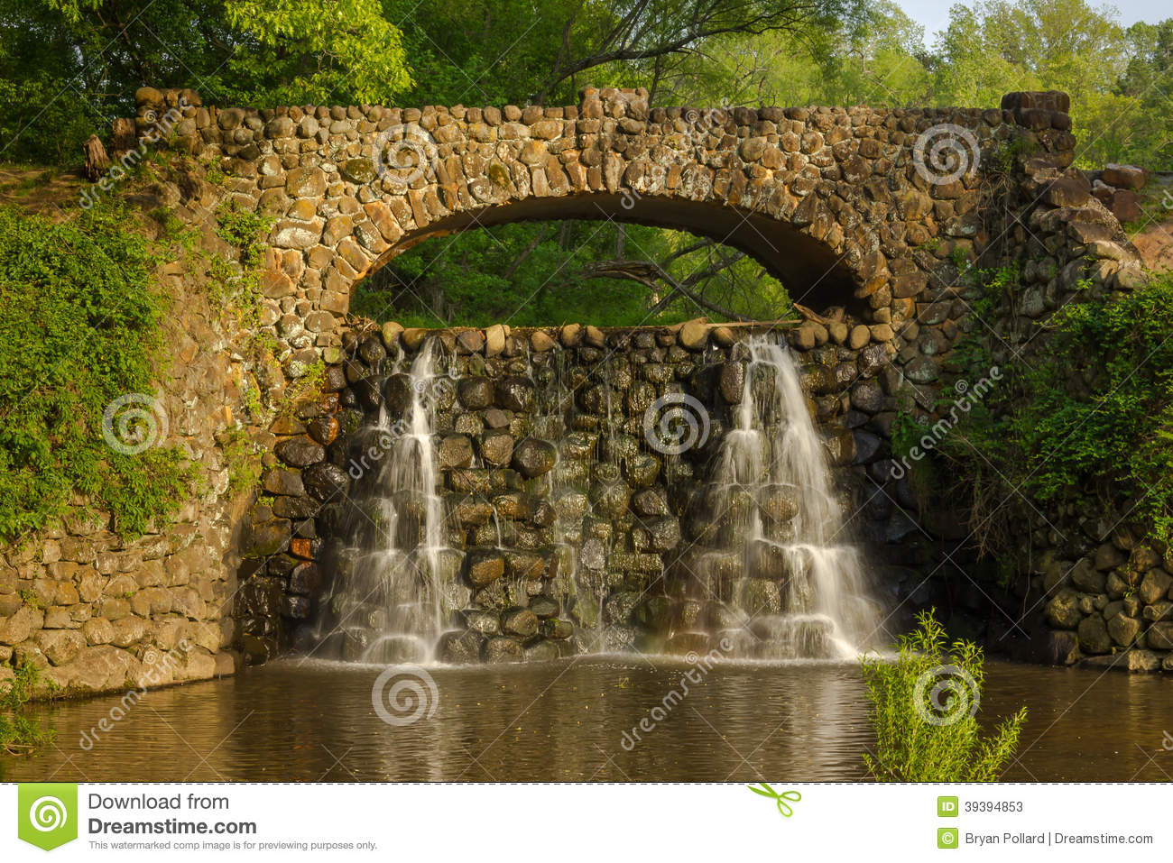Stone Bridge And Waterfall In Reynolda Gardens Stock Image - Image ...