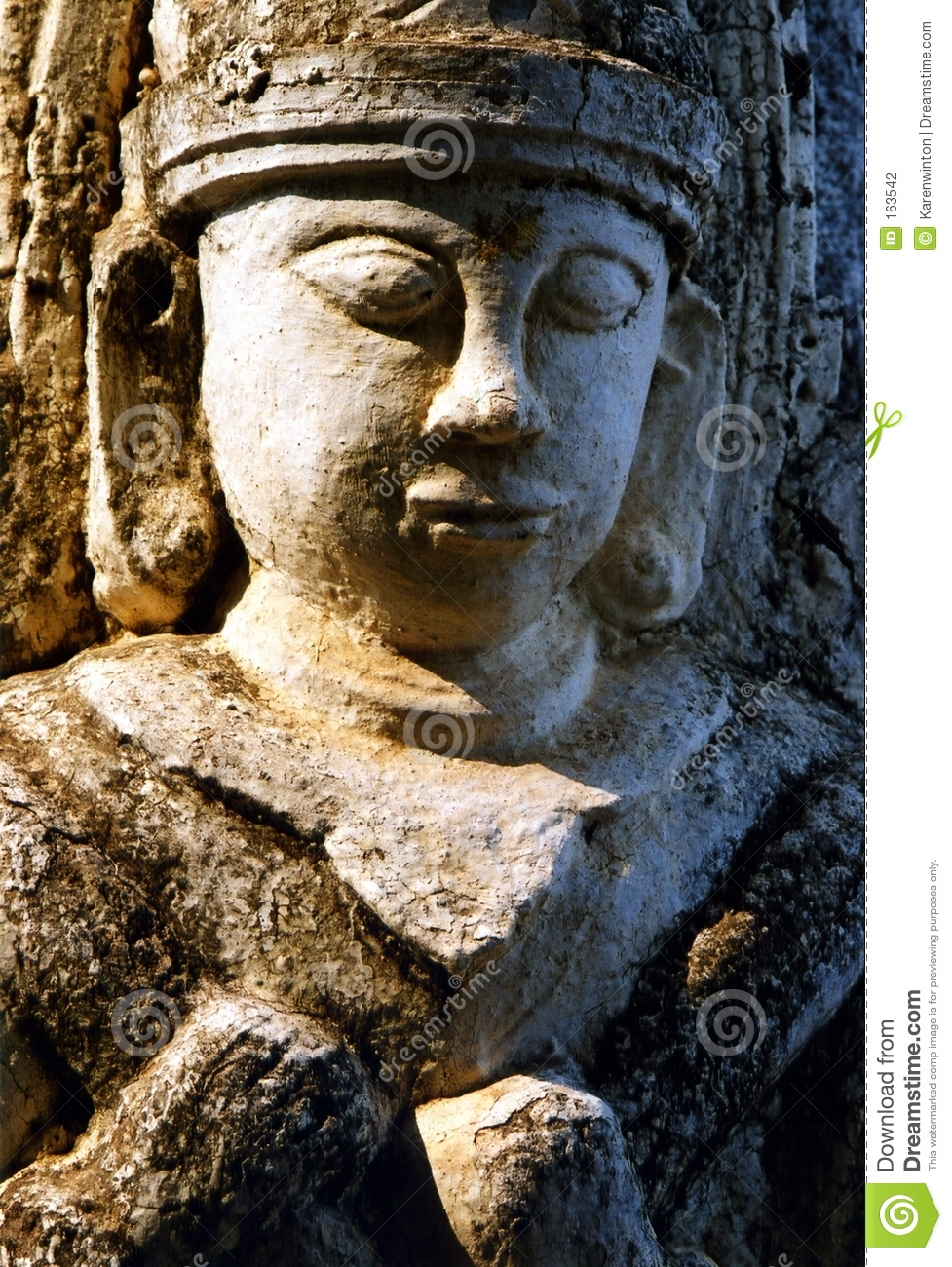 Stone buddha in relief