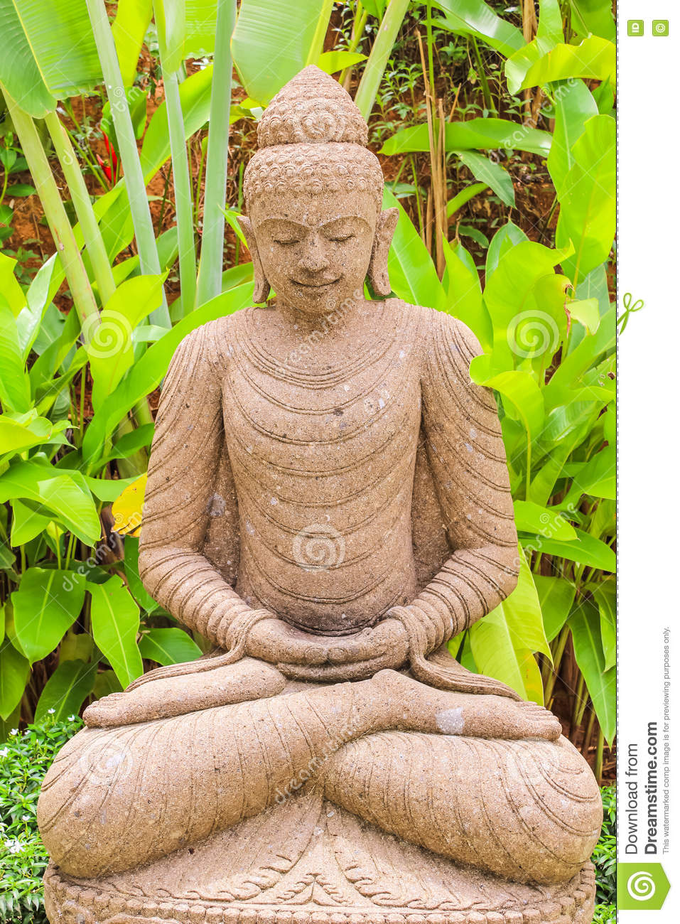 Download Stone Buddha Statue (indonesian Style) In Garden Stock Photo    Image Of Religious