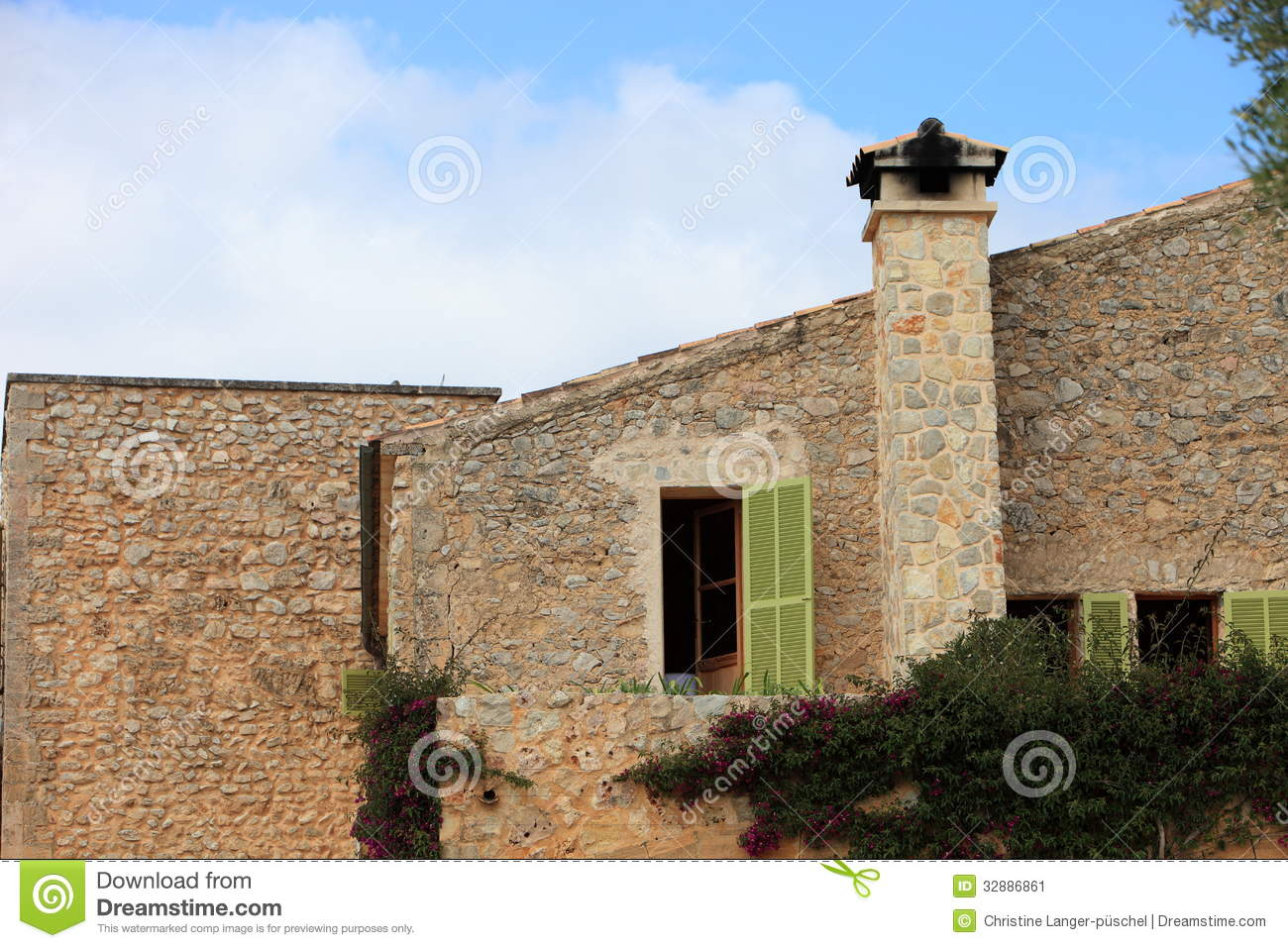 Stone Building With Chimney Stock Image Image 32886861