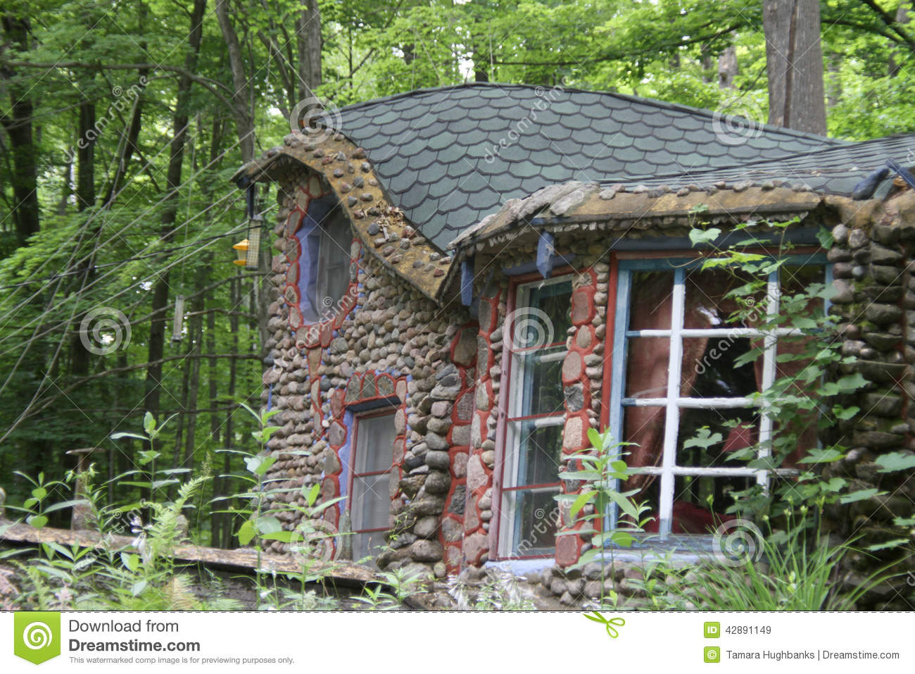 Stone Cabin Gingerbread Cottage Editorial Stock Image