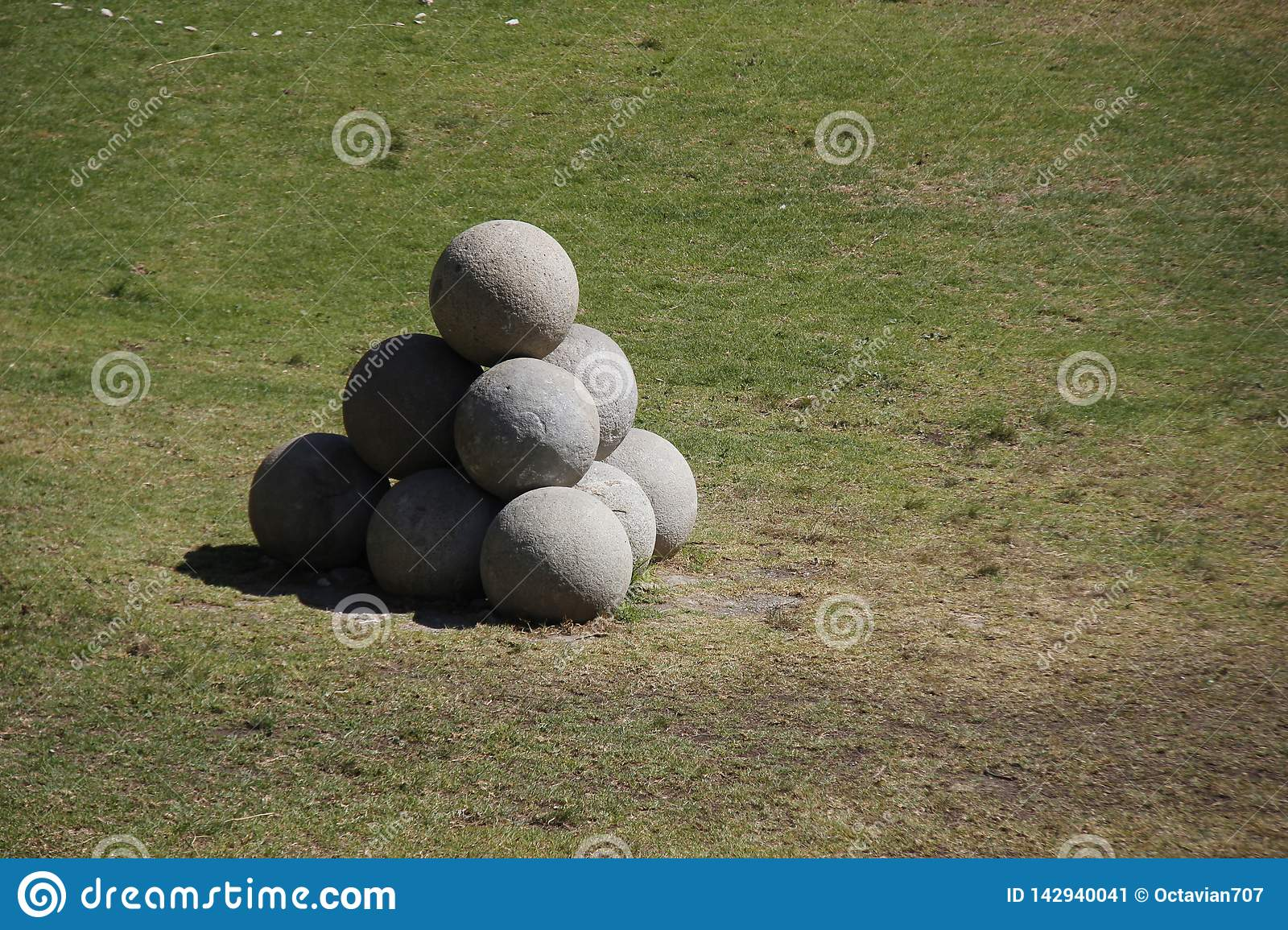 Stone cannonballs in Rhodes-City in front of a fort