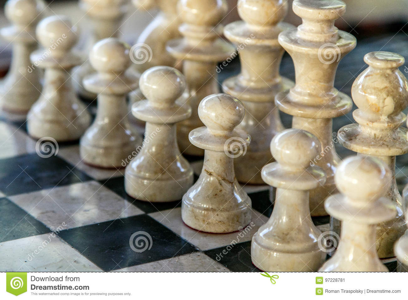 Stone carved chess pieces