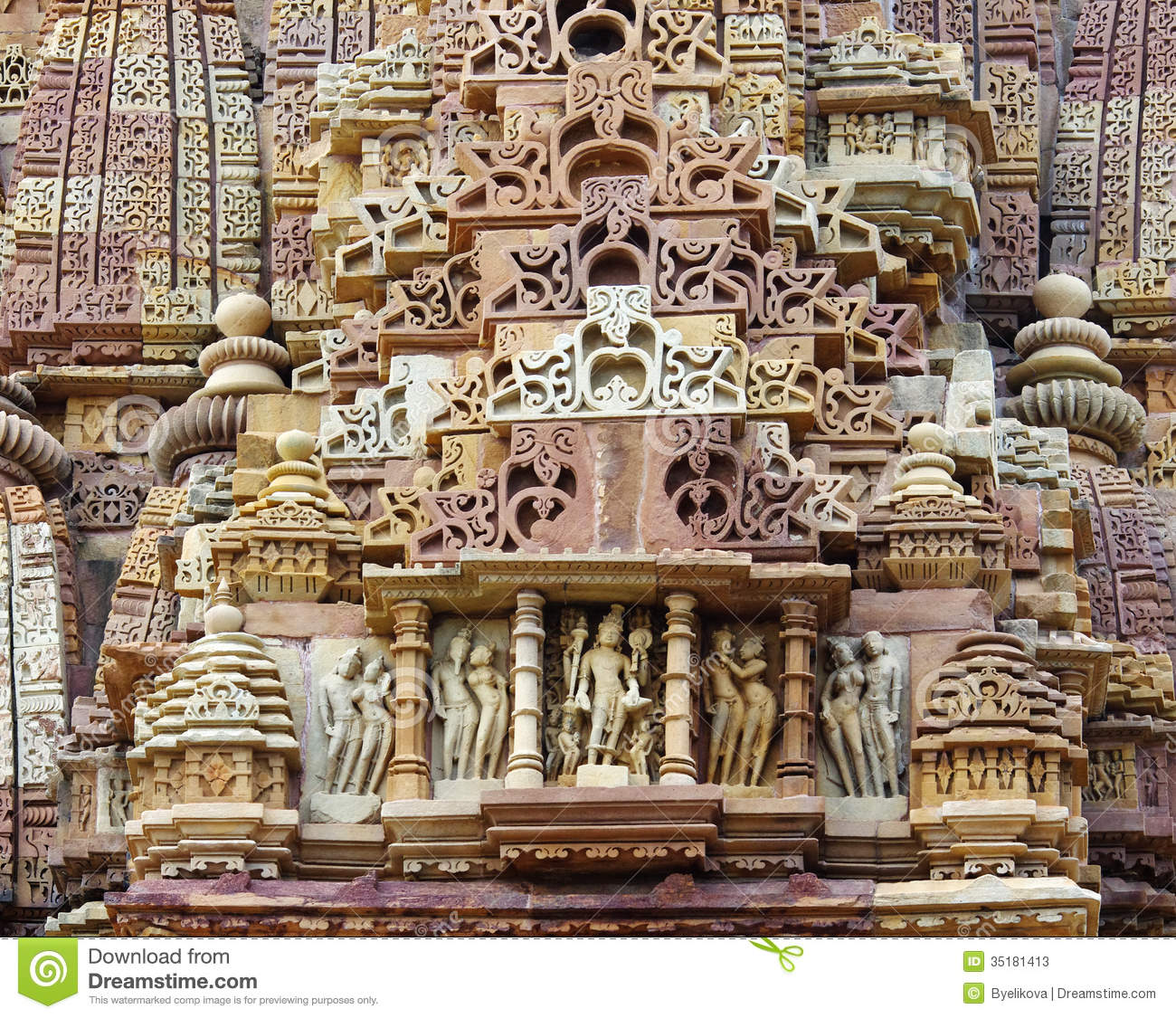 Stone carved erotic bas relief in hindu temple