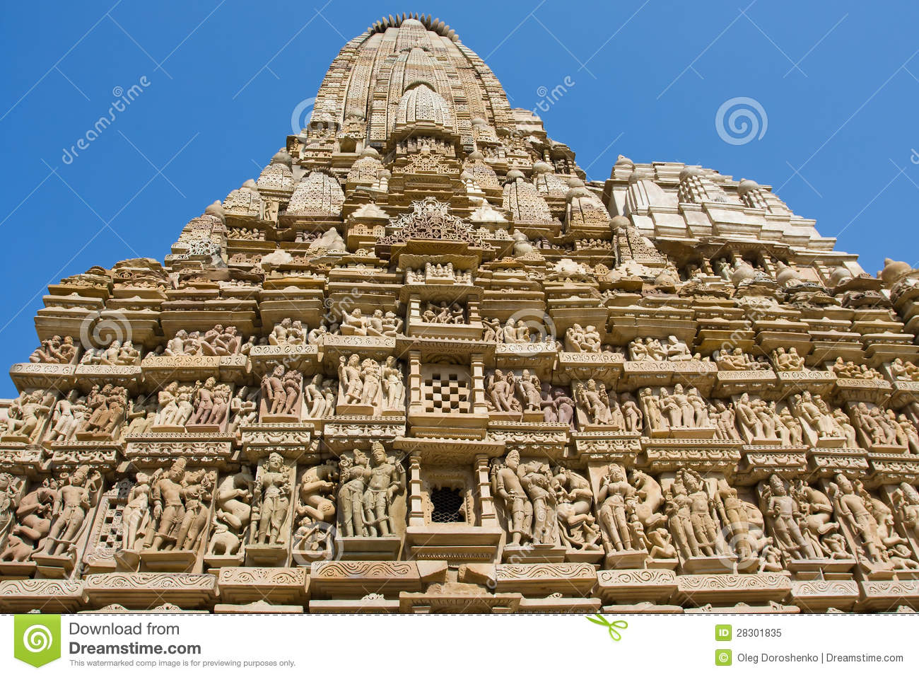 Stone carved temple in khajuraho madhya pradesh india