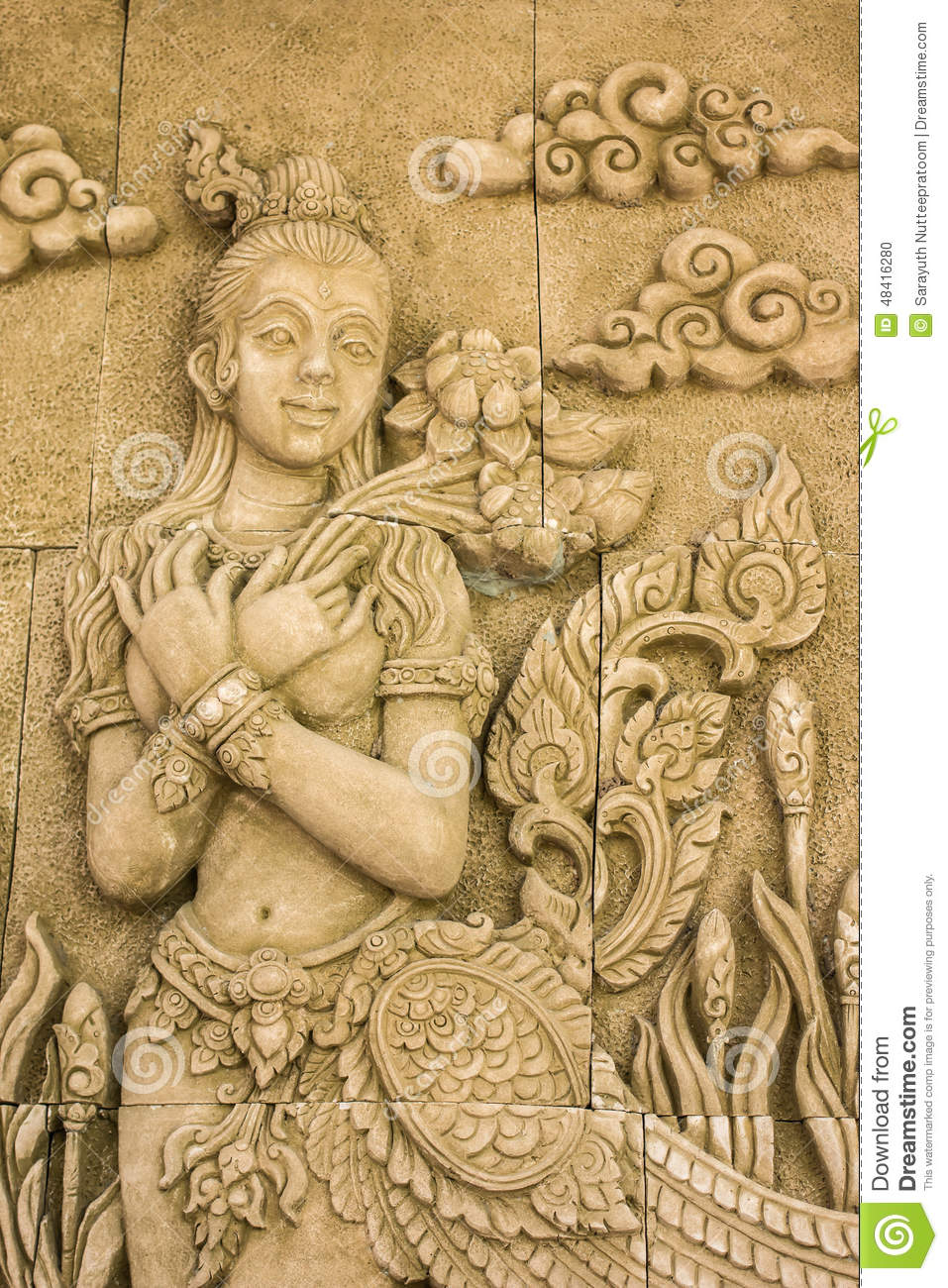 Stone carved thai style stock photo image of garden