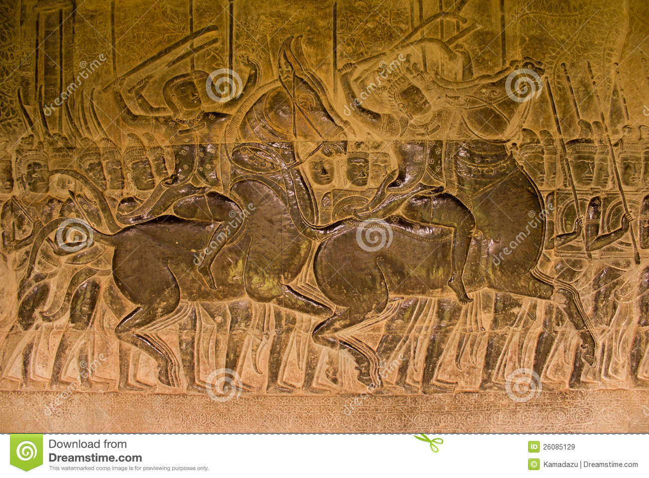 Stone carved at the wall of angkor wat royalty free stock