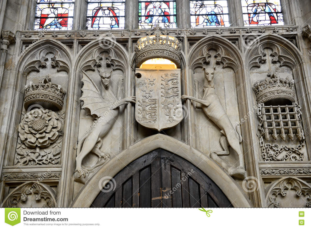 Stone Carving Above Door of Kings College Chapel & Stone Carving Above Door Of Kings College Chapel Stock Photo ... Pezcame.Com