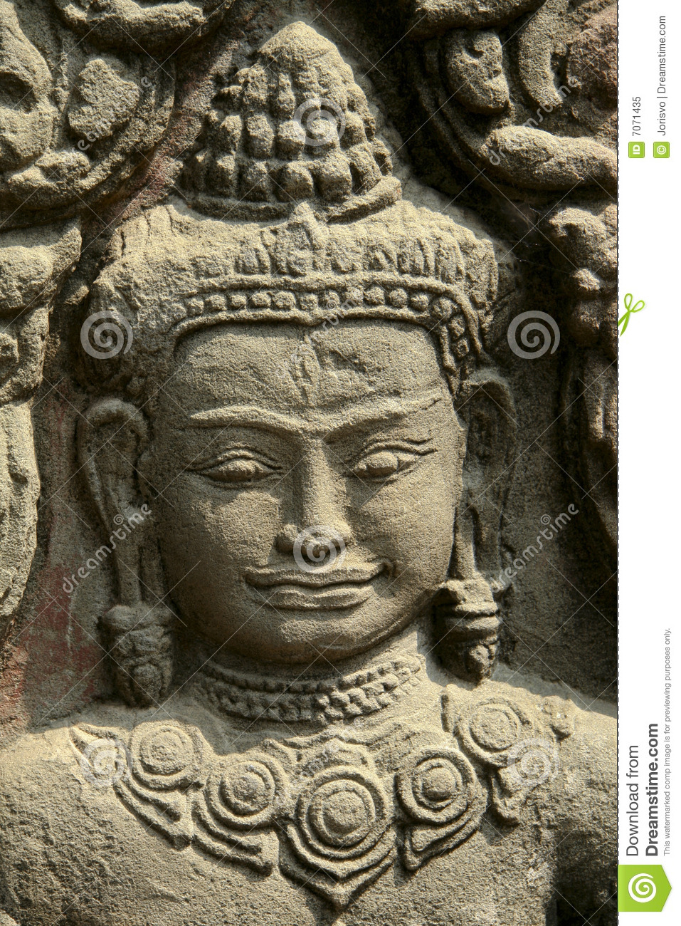 Stone carving in angkor wat temple royalty free stock