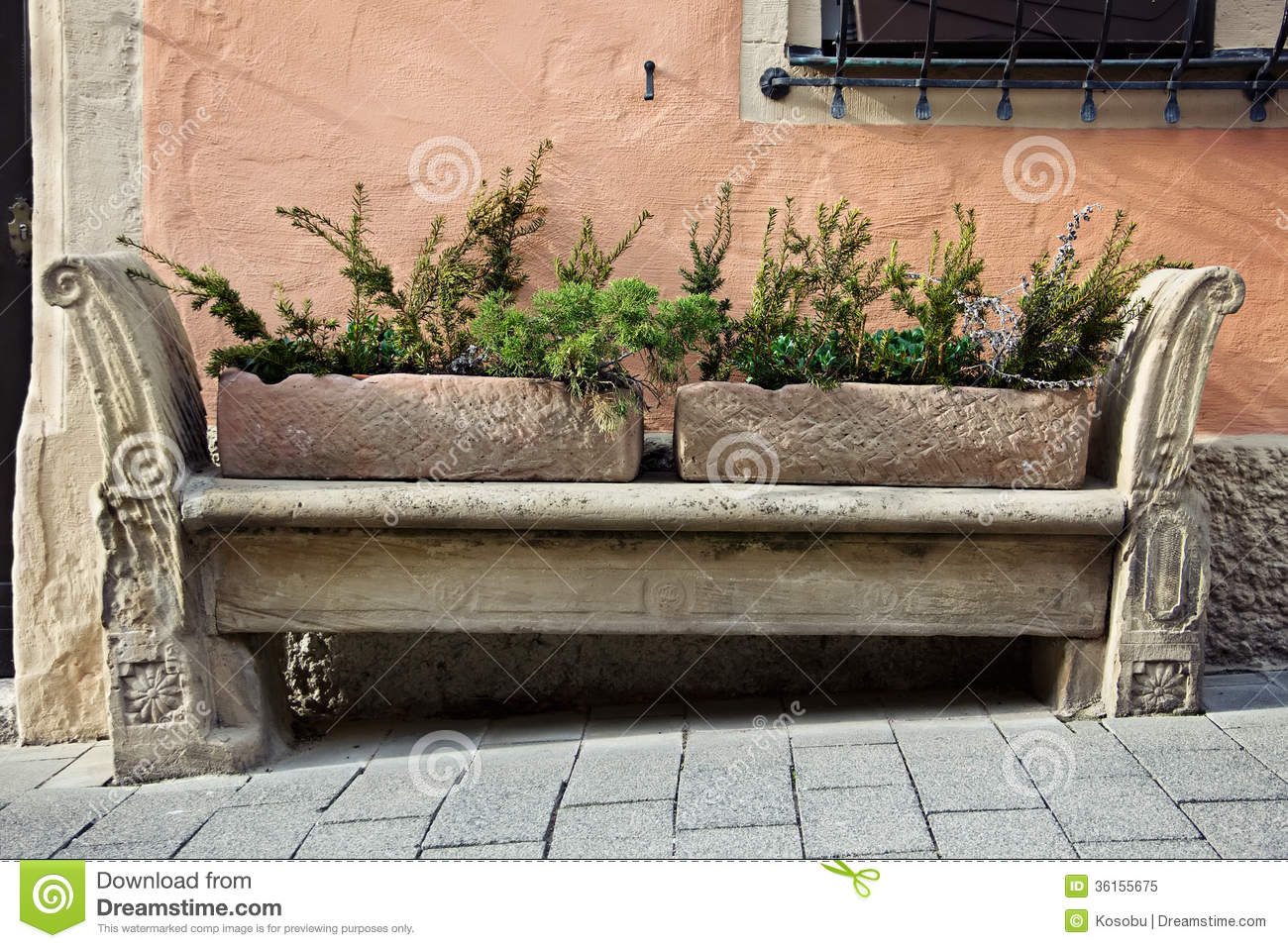 Stone Carving Bench In Old Town Royalty Free Stock Photo