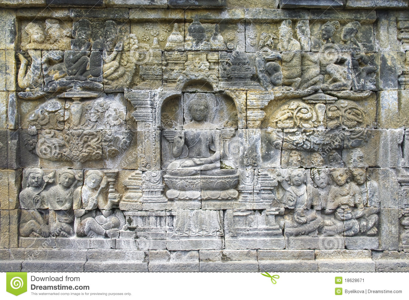 Stone carving in the borobudur temple stock image