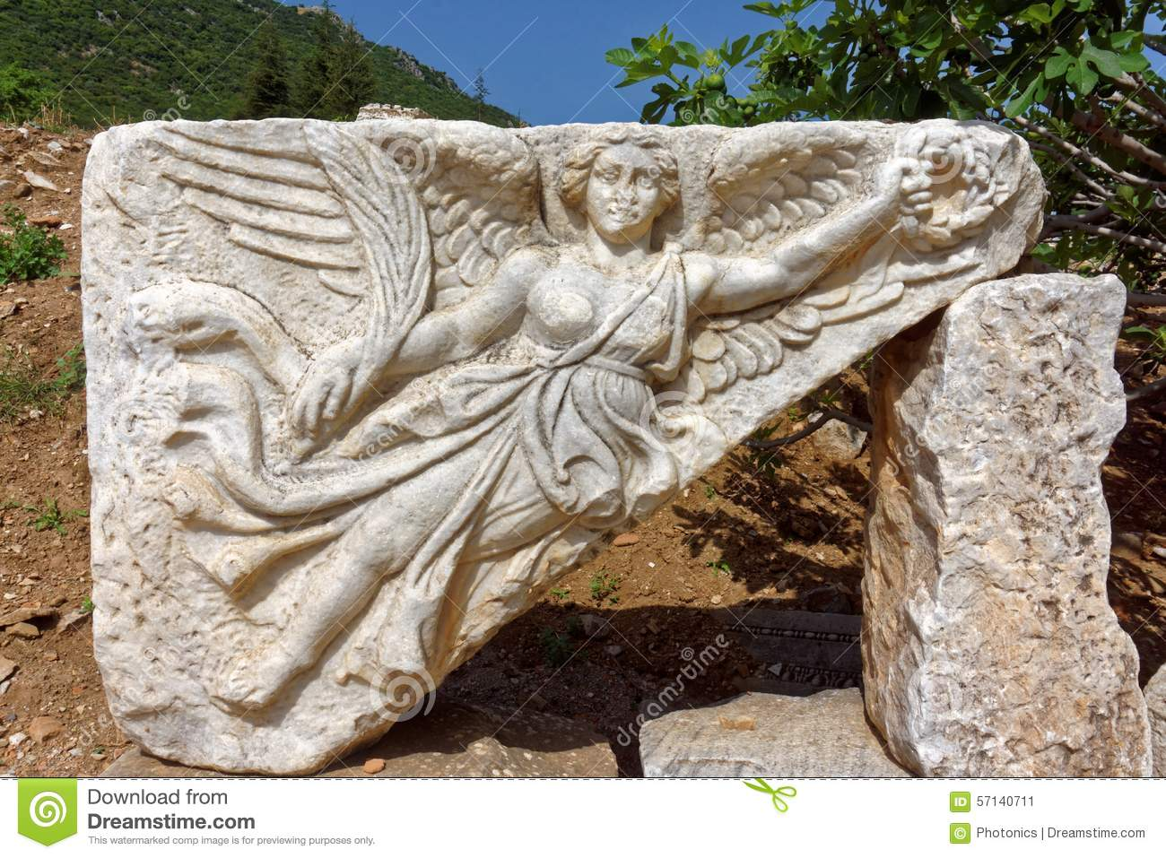 Stone carving of goddess nike stock image ruin