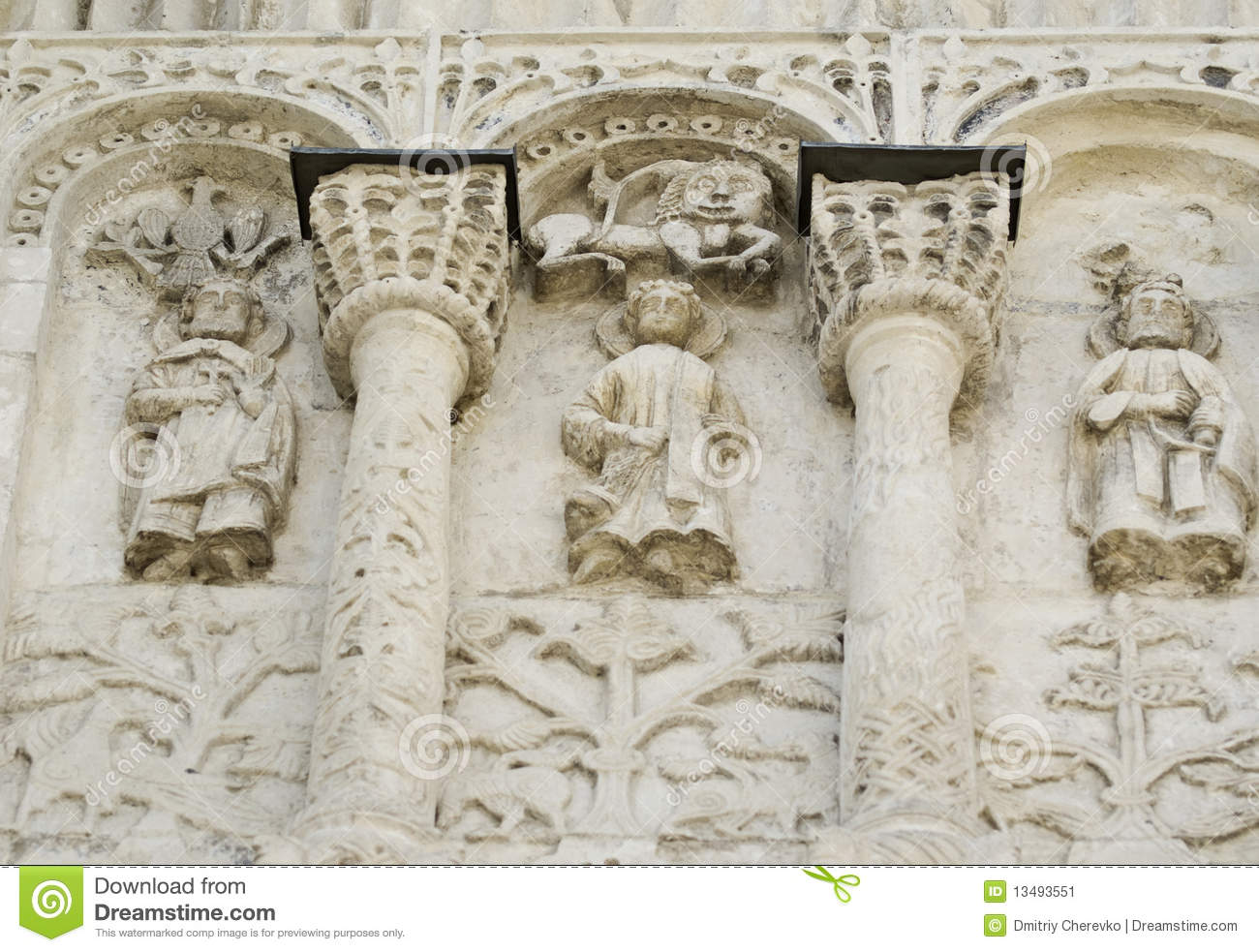 Stone carving st demetrius cathedral stock