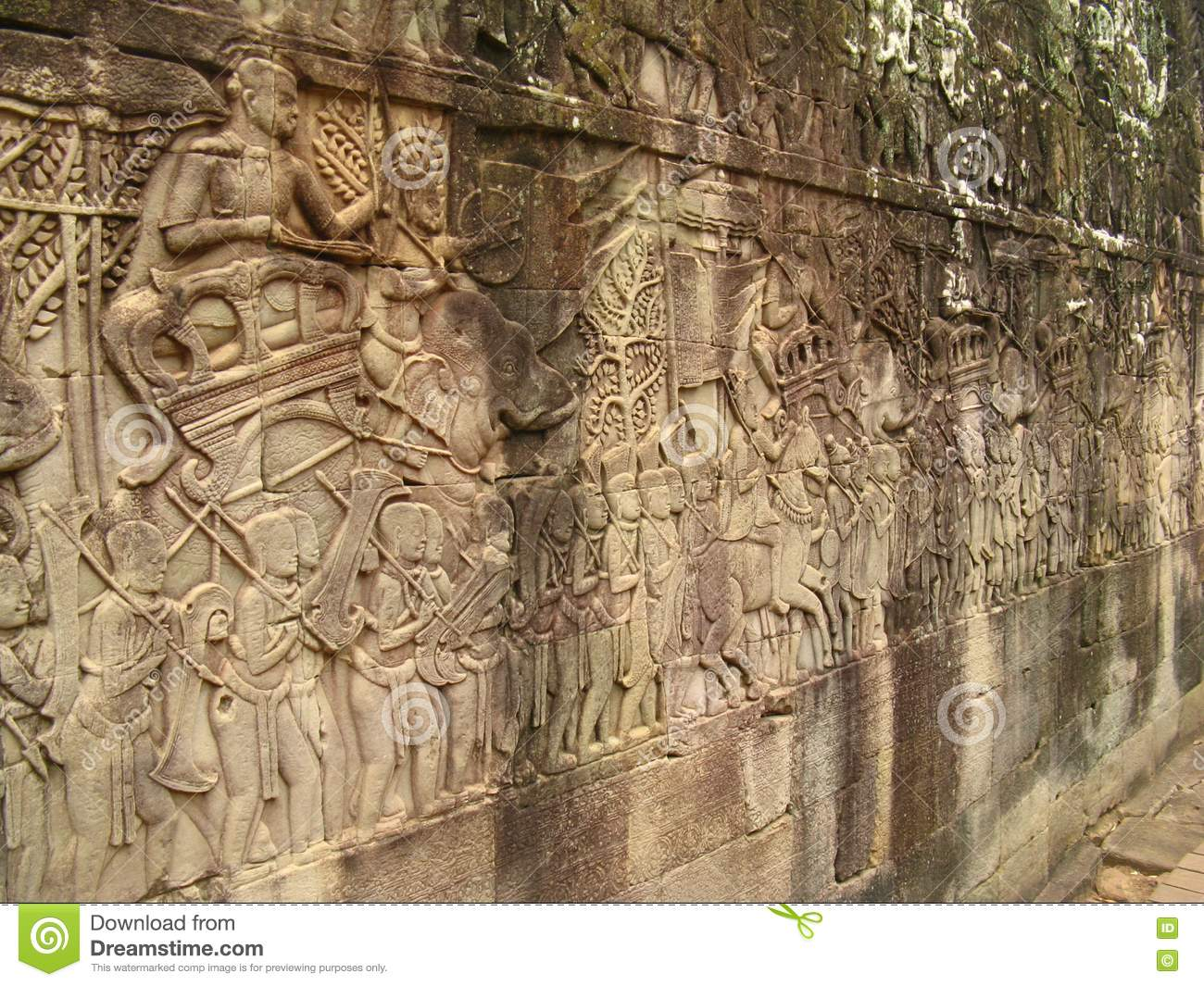 Stone carvings angkor wat royalty free stock photos