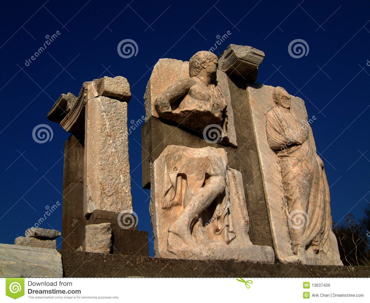 Stone carvings from ruins of ephesus royalty free stock