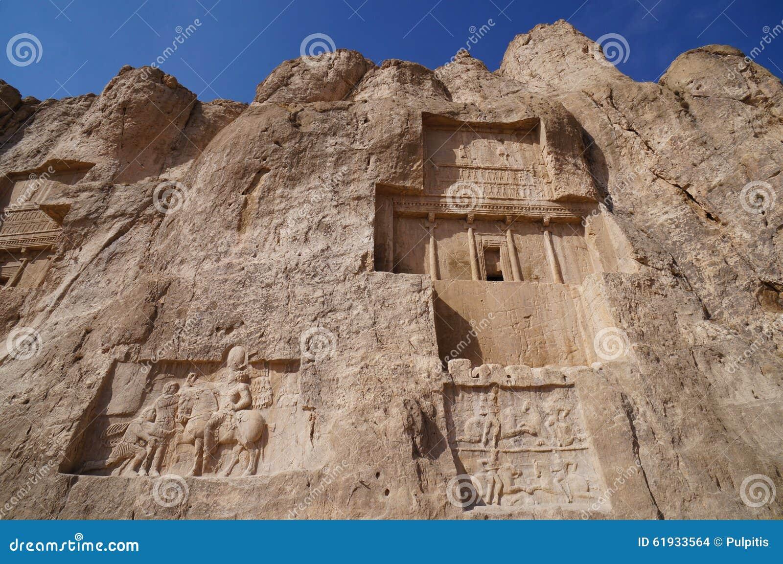 Stone carvings on tomb of darius the great persepolis