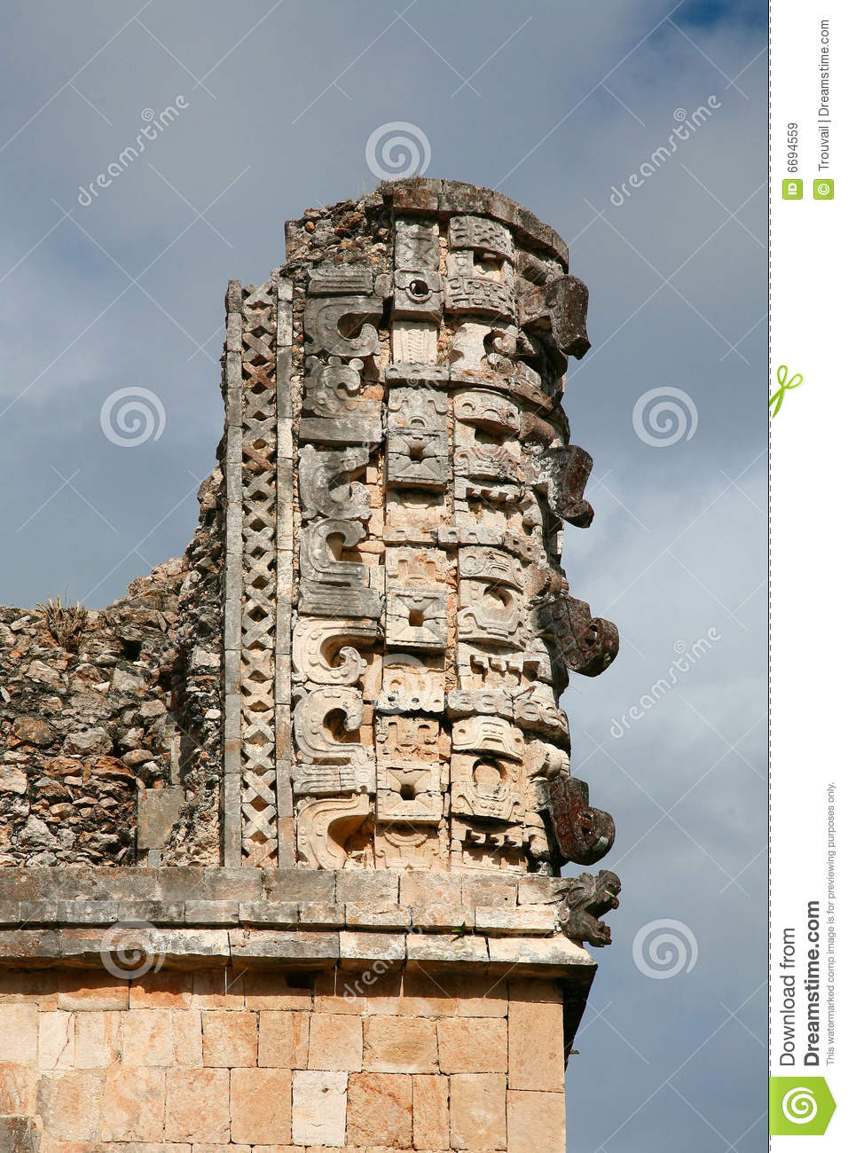 Stone carvings uxmal mexico royalty free stock images