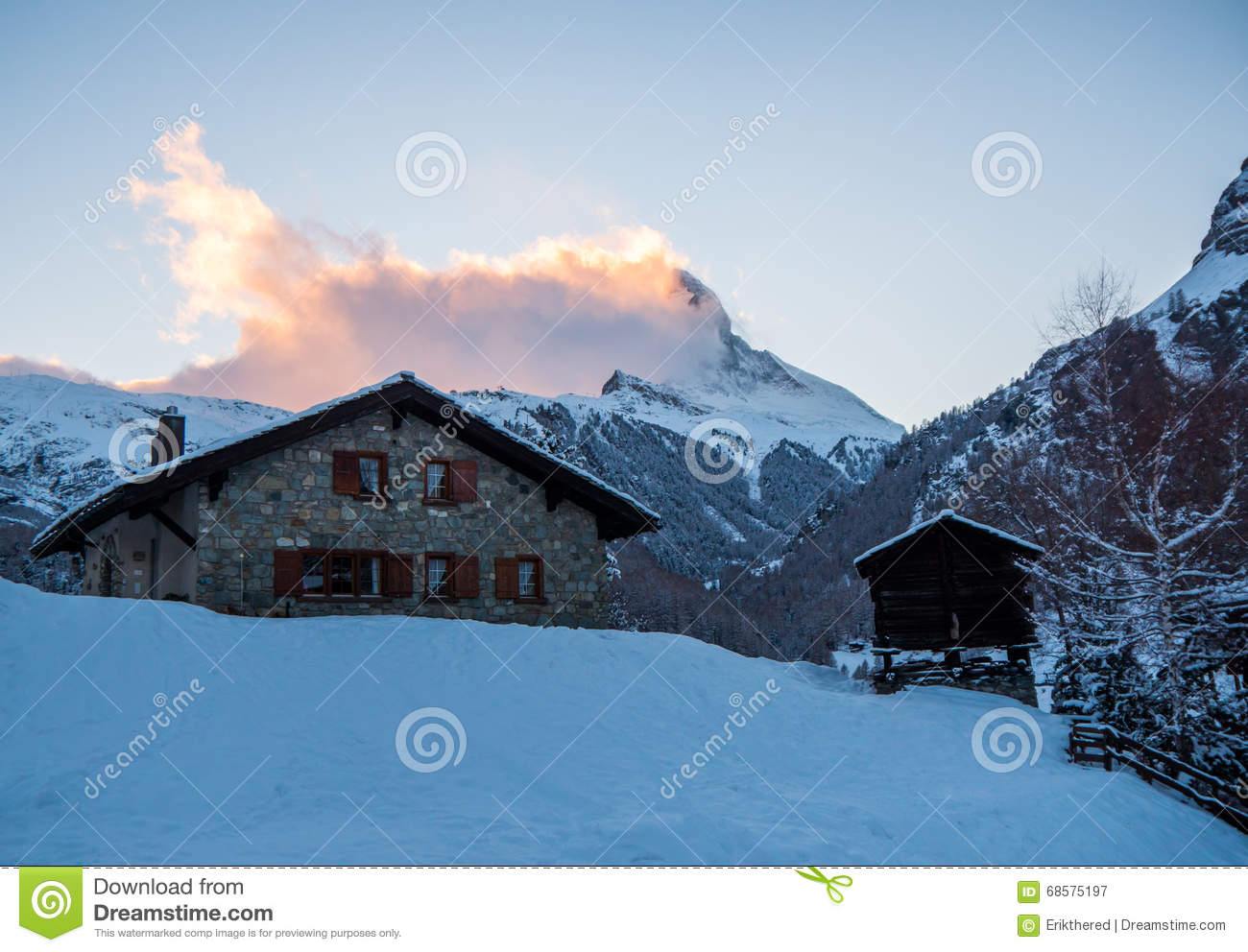 Stone Chalet With The Matterhorn In The Background In The Swiss .
