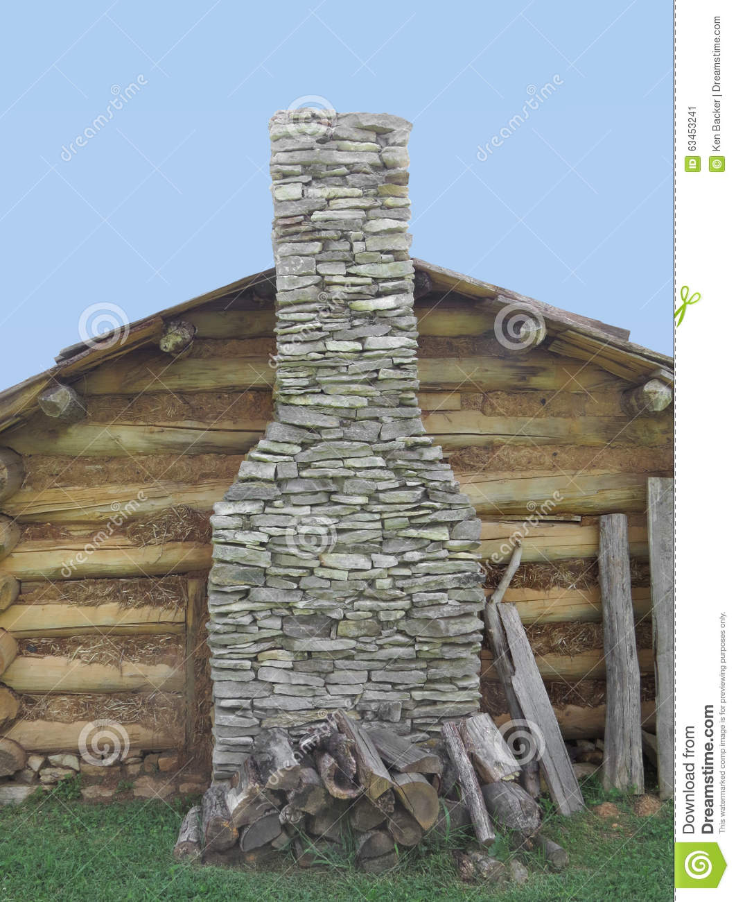 Stone chimney on wall of log cabin stock photo image for Stone chimneys