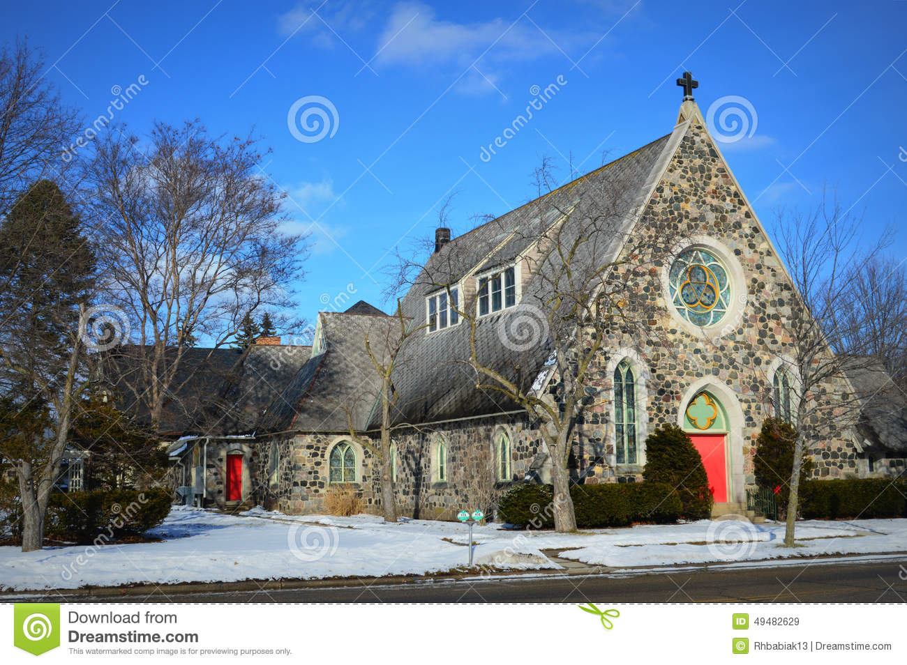 Stone Church With Red Doors Stock Image Image Of Blue Heaven