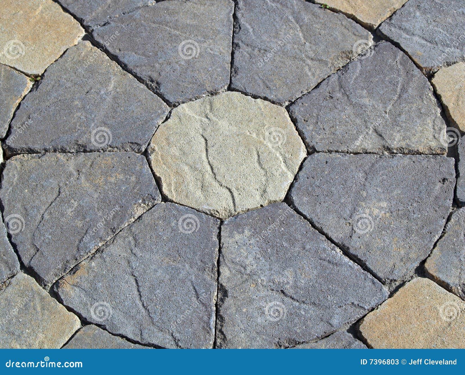 Stone Circle Design Of Pavers Grey White Stock Image
