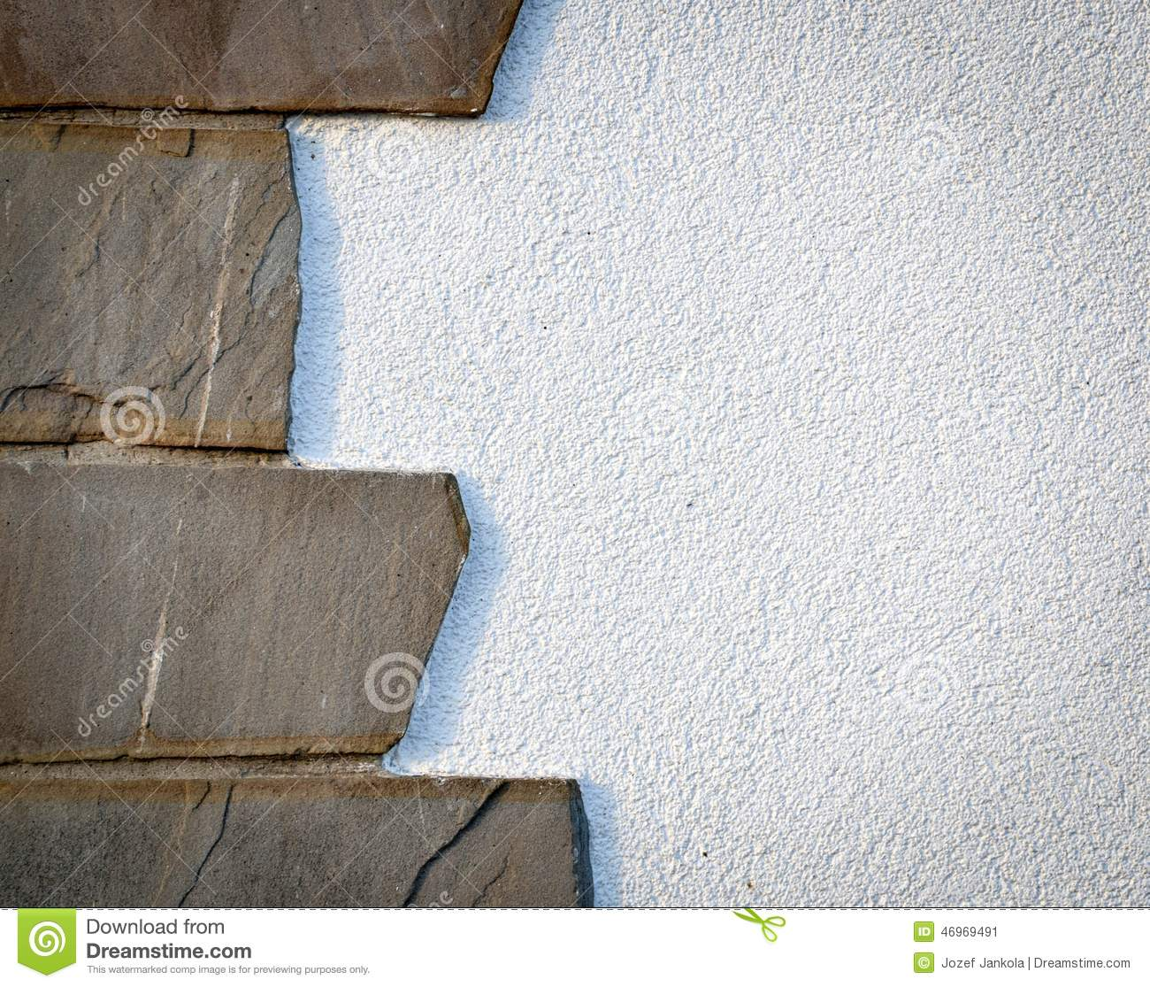 Stone Cladding On White Wall Stock Photo Image 46969491