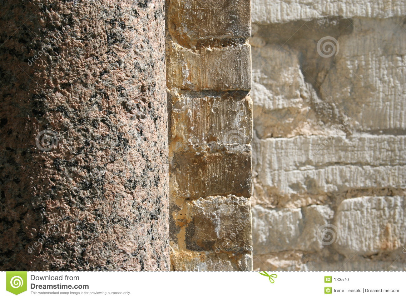 Marble Column Wall : Stone column and wall stock photo image