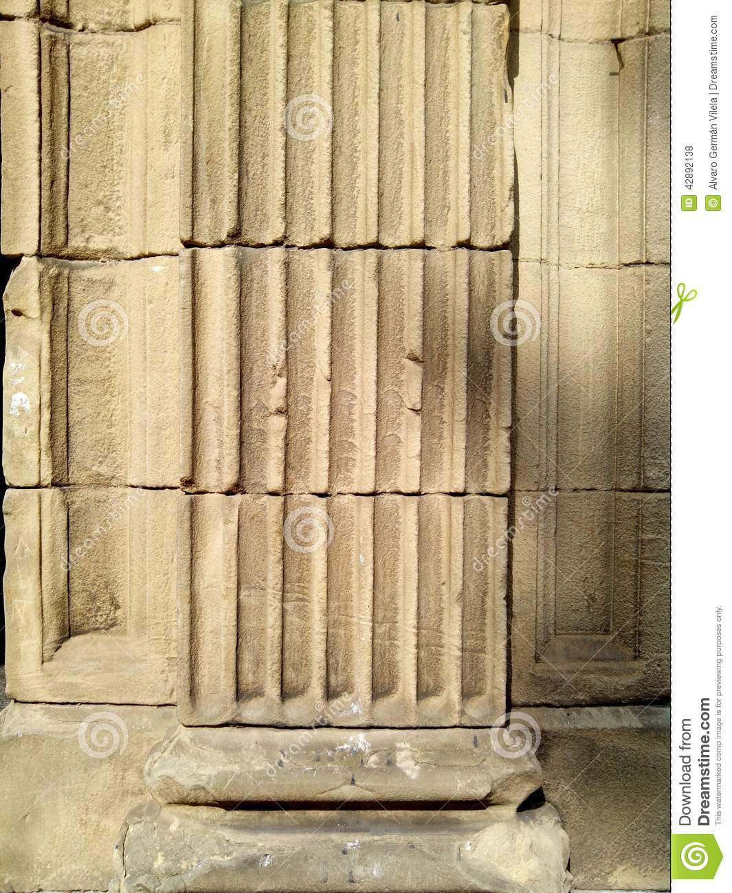 Marble Column Wall : Stone column in wall texture stock photo image
