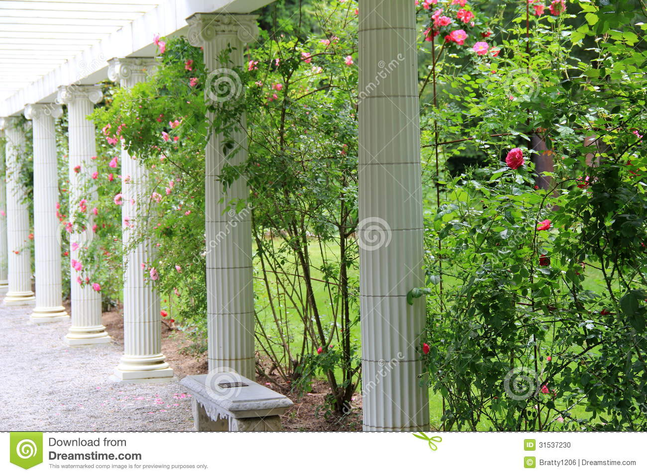 Stone Columns And Benches In Rose Garden Stock Photo Image 31537230