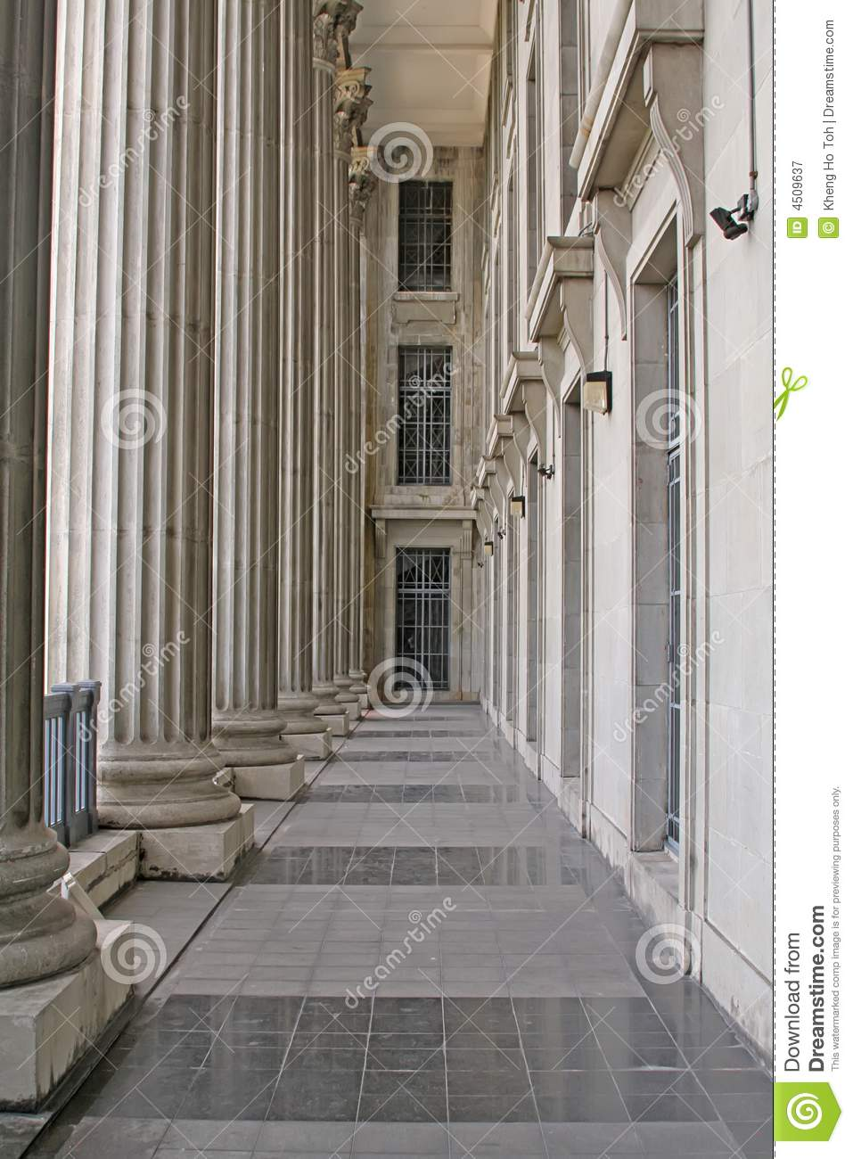 Construcion Stone Column : Stone columns in a judicial law building royalty free