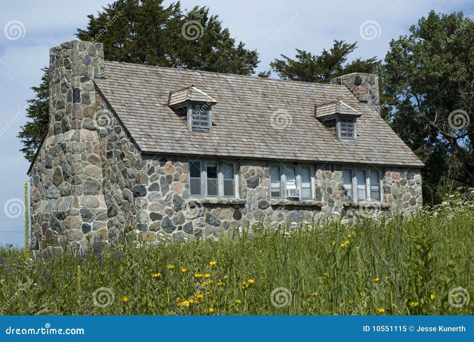 Stone Cottage In Lake Okoboji Iowa Royalty Free Stock