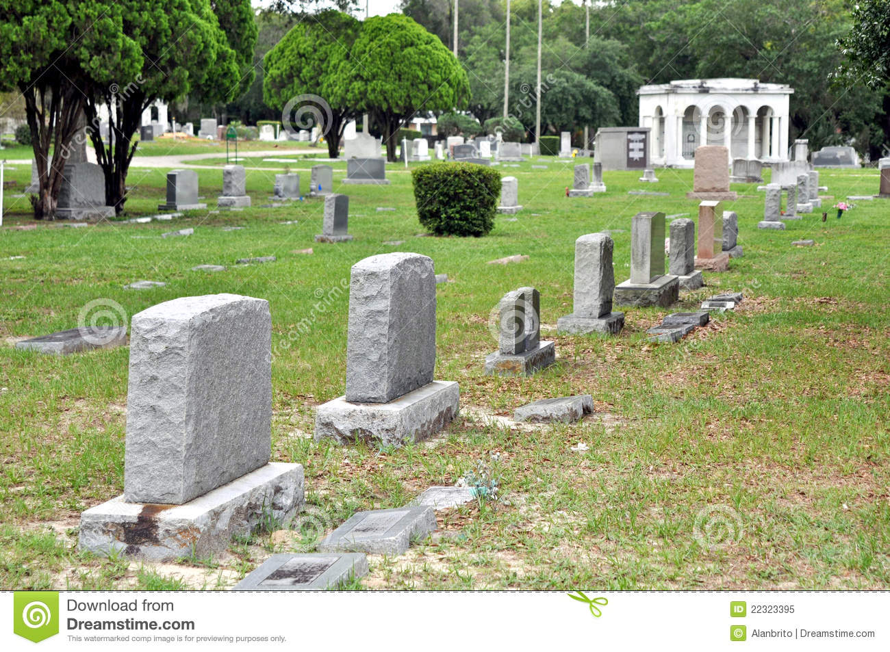 Stone crypts at a cemetery.