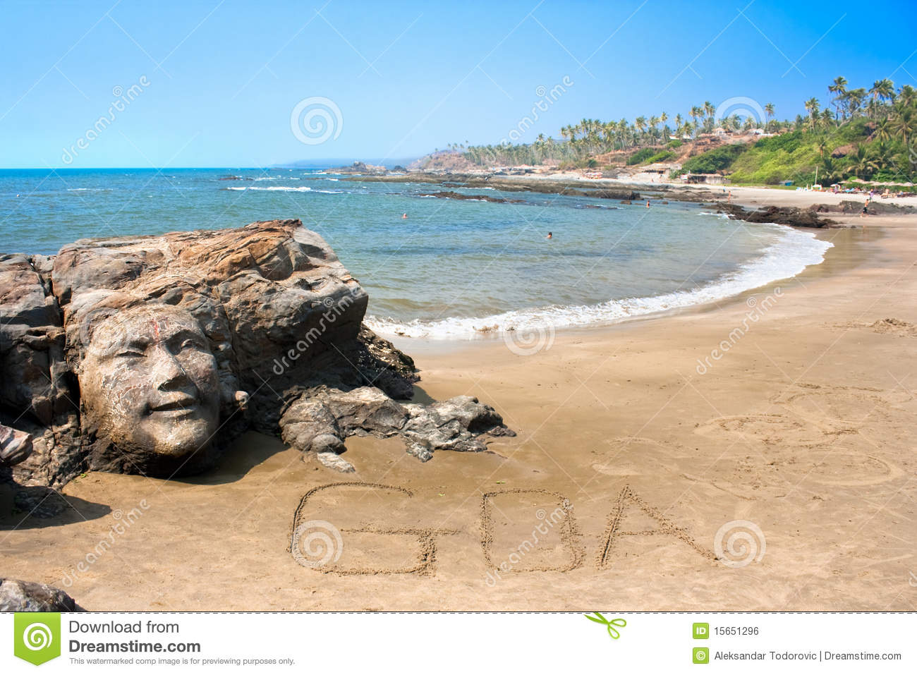 Stone Face On Beautiful Tropical Beach In Goa Stock Photo Image Of