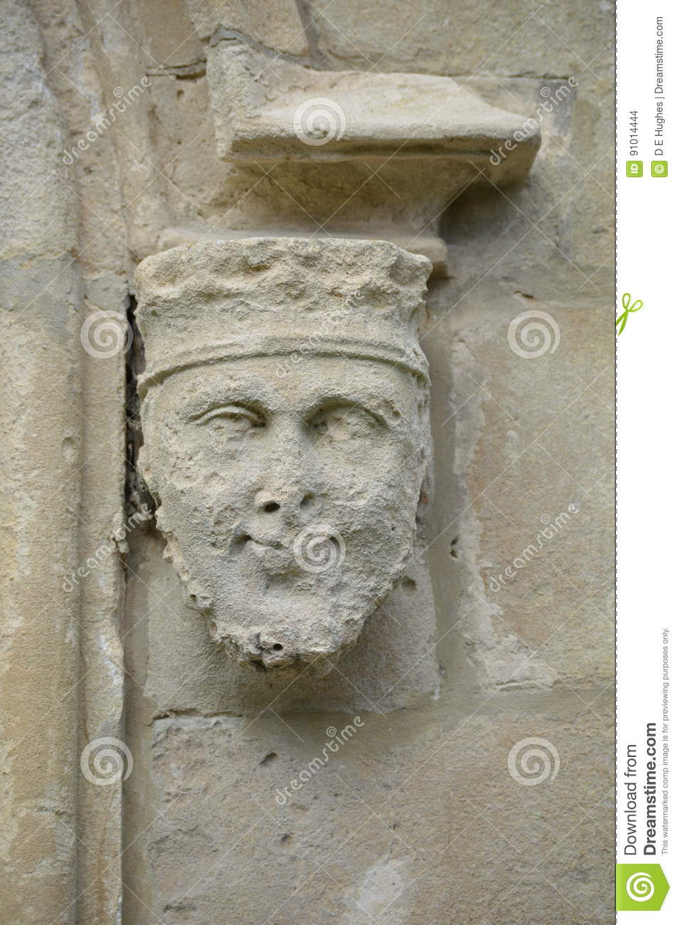 Stone face statue - Portmerion Village in Wales