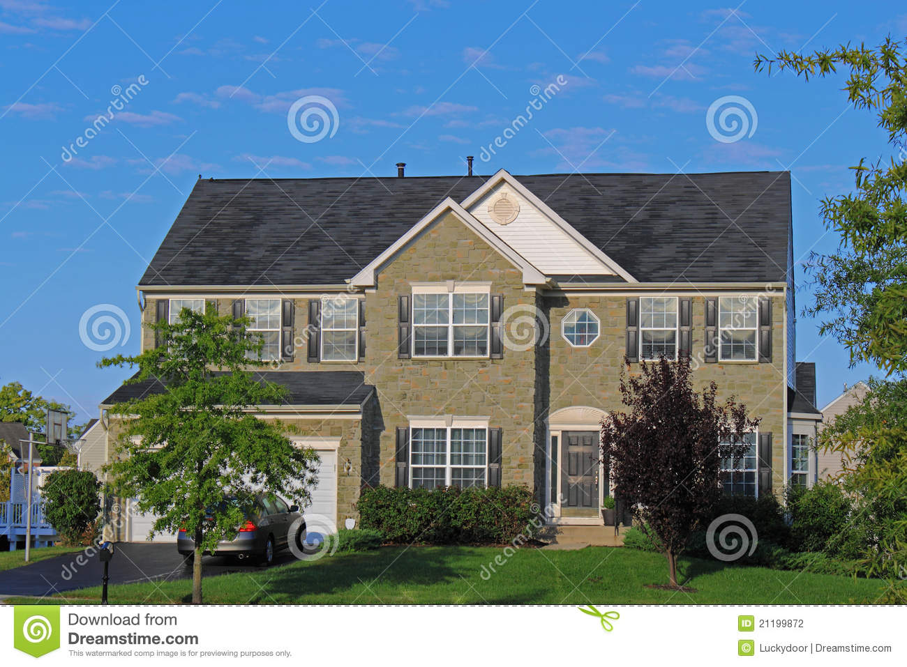 Stone faced suburban Residential House