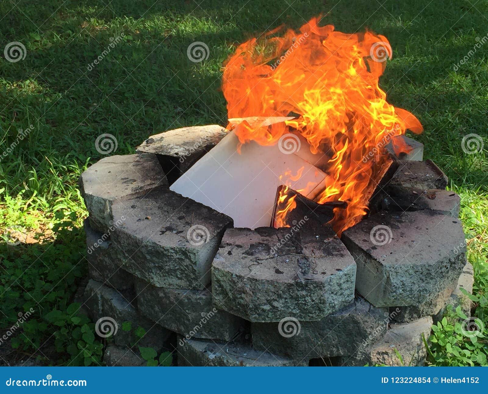Stone Fire Pit Burning Household Trash Stock Photo Image Of Trash Landfills 123224854
