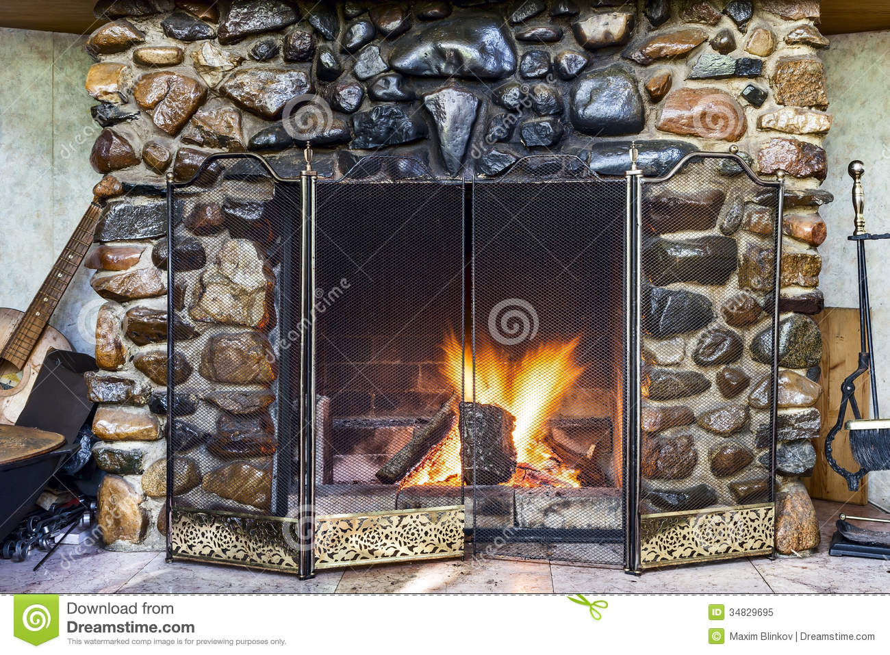 Stone fireplace royalty free stock photo image 34829695 for Firerock fireplace prices