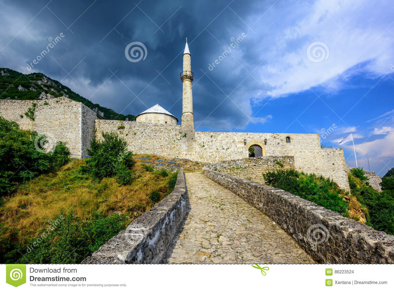 Stone fortress with a mosque in Travnik, Bosnia