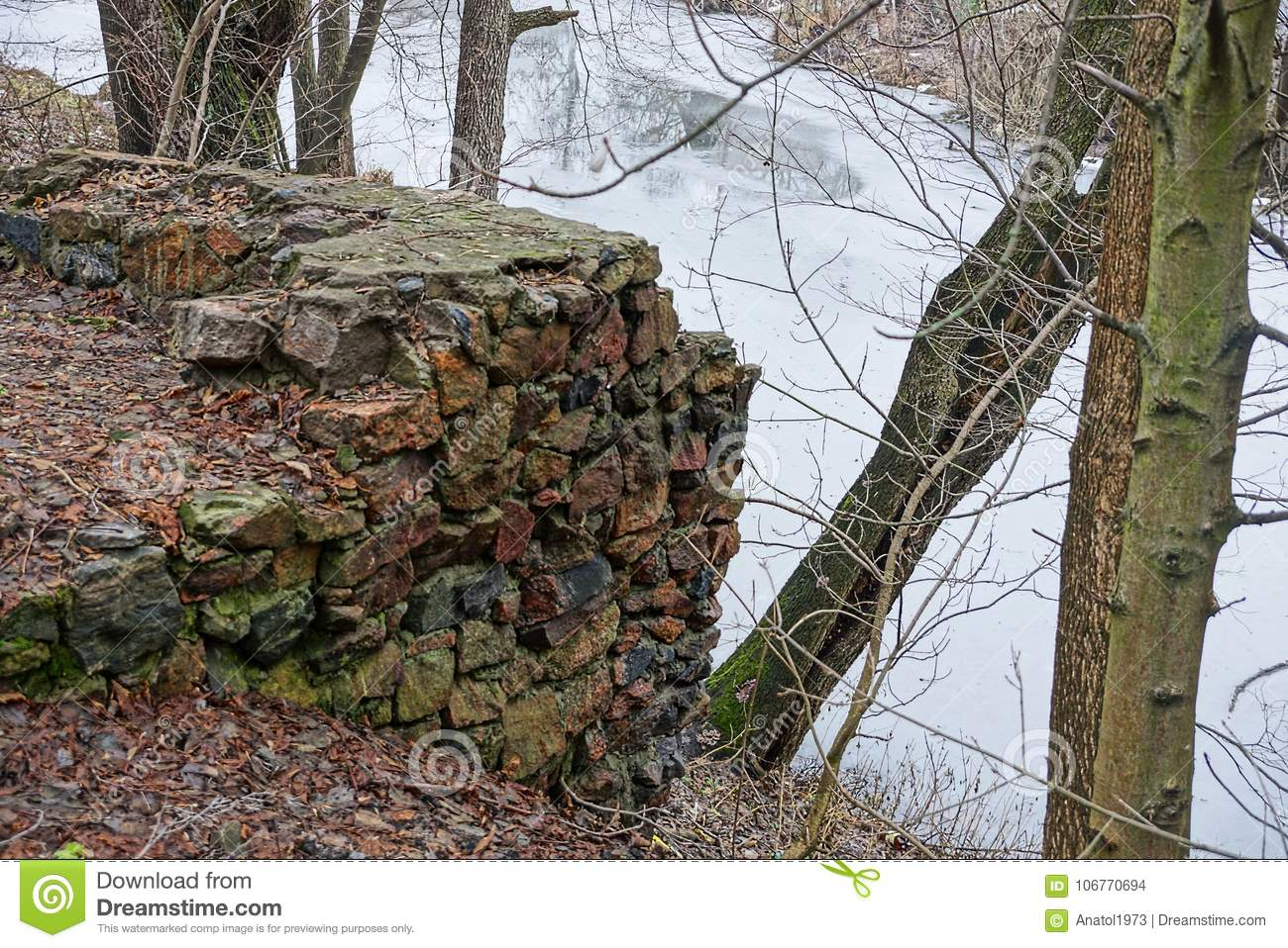 Stone Foundation Of A Ruined Old House On The River Bank Stock Photo Image Of Destroyed Retro 106770694
