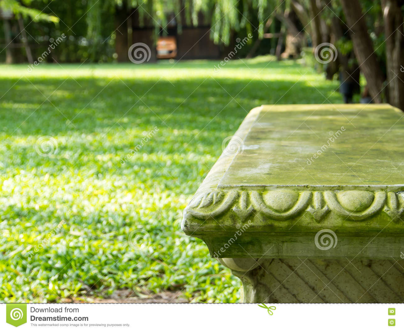 Stone Garden Bench On Park Background Stock Image - Image of ... for Park Background With Bench  570bof